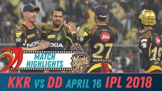 Kolkata Knight Riders vs Delhi Daredevils Match Highlights| April 16 2018 | Cricnwin Match Reels