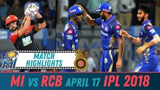 RCB vs MI Match Highlights | Royal Challengers Bangalore vs Mumbai Indians April 17 2018|