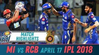 RCB vs MI Match Highlights   Royal Challengers Bangalore vs Mumbai Indians April 17 2018 