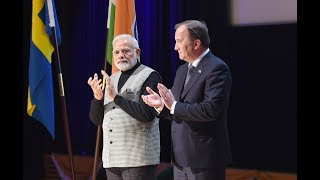 Rousing reception of PM Shri Narendra Modi by Indian community in Stockholm, Sweden.