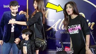 Shilpa Shetty & Raj Kundra With Son Viaan At Disney Aladdin Special Play