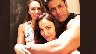 Salman Khan With Elli Avram And Iulia Vantur At Galaxy Apartment