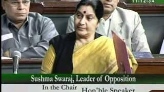 Part 1: Mehngai: Smt. Sushma Swaraj: 25.02. 2010