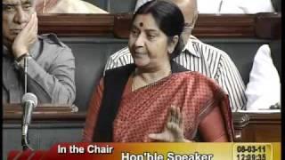 Matters of Urgent Public Importance: Smt. Sushma Swaraj: 08.03.2011