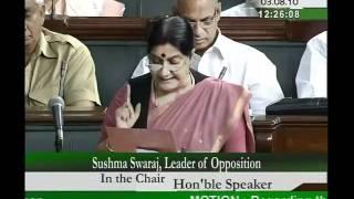 Mehngai: Smt. Sushma Swaraj: 03.08.2010