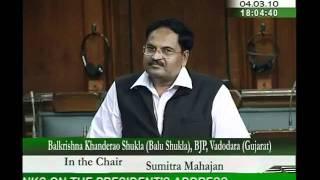 Motion of thanks on the President's address: Sh. Balkrishna Khanderao Shukla: 04.03.2010