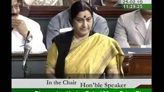 Mehngai: Smt Sushma Swaraj: 25.02.2010