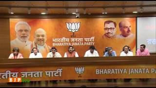 Press conference of BJP leaders with victims of TMC sponsored violence in local body elections in WB
