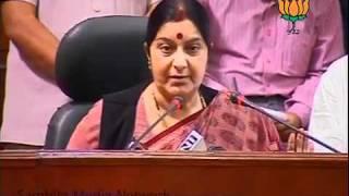 BJP Press: Parliament Session, Anna Hazare & PM: Smt. Sushma Swaraj: 16.08.2011