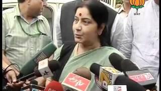 BJP Byte: Note for Vote Scam & Delhi High Court Blast: Smt. Sushma Swaraj: 07.09.2011