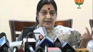 BJP Press: Parliament Session & Note for Vote Scam: Smt. Sushma Swaraj: 09.09.2011