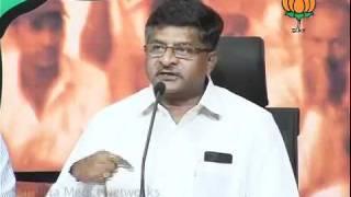 BJP Press: P. Chidambaram Role in 2G Scam & PM Statement: Sh. Ravi Shankar Prasad: 23.09.2011