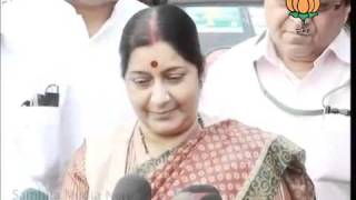BJP Byte After Meeting with BJP MPs in Tihar By Smt. Sushma Swaraj: 25.10.2011