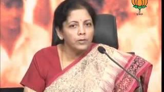 BJP Press on Black Money: Smt. Nirmala Sitharaman: 01.11.2011