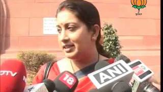 BJP Byte on Parliament Session: Smt. Smriti Irani: 29.11.2011