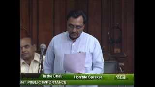 Matters of Urgent Public Importance: Sh. Mahendrasinh Chauhan: 30.04.2012