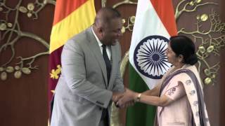 External Affairs Minister meeting with Foreign Minister Mangala Samaraweera of  Sri Lanka