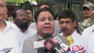 A delegation of Congress Party leaders addresses media after visiting EC.