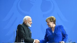 PM Modi with Chancellor of Germany Angela Merkel at Joint Press Statements in Berlin, Germany