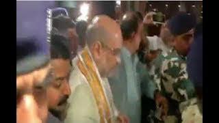 Grand reception of BJP National President Shri Amit Shah at IGI Airport, Delhi.
