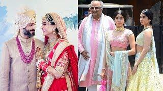 Gorgeous Jhanvi And Khushi Kapoor With Boney Kapoor At Sonam Kapoor Wedding Ceremony
