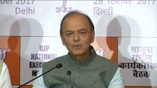 Shri Arun Jaitley addresses a press conference at Talkatora Stadium in New Delhi.