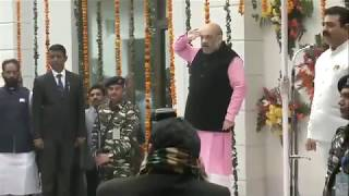 BJP National President Shri Amit Shah unfurls tricolour at BJP HQ in New Delhi. #RepublicDay