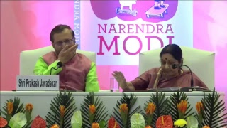 "EAM and HRD Minister launching Exam Warriors"", book by PM Shri Narendra Modi"