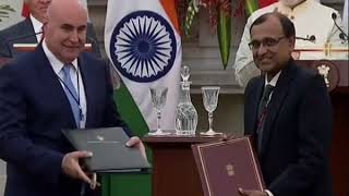 Exchange of Agreements: Visit of the King of Jordan to India