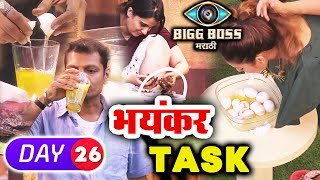 Megha Breaks EGGS With Mouth, Sai's COW DUNG Task | Bigg Boss Marathi Episode 26 | 10th May 2018