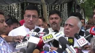 Kapil Sibal and Randeep Singh Surjewala addresses media after meeting with EC