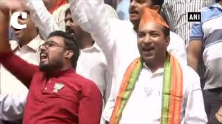 K'taka polls: Celebrations begin outside BJP office in Bengaluru