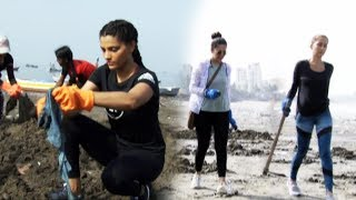 BEACH Cleaning Movement At Versova Jetty Beach | Saiyami kher, VJ Anusha dandekar