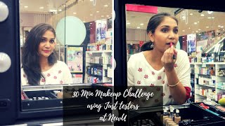 30 Minute Makeup Challenge Using just Testers at NewU India | Nidhi Katiyar