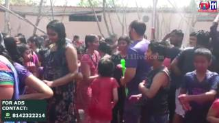 RAIN DANCE HOLI AT ZEK COLONY SR NAGAR PS LIMIT TV11 NEWS 13TH MAR 2017