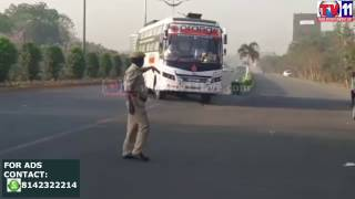 RTA OFFICIALS CHECK TRAVEL BUSES AT GAGANPAHAD RAJENDRANAGAR TV11 NEWS 22ND MAR 2017
