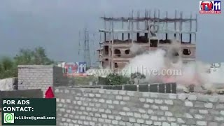 GHMC DEMOLITION BY IMPLOSION TECHNIQUE NOT SUCCESSFUL  AT MADHAPUR TV11 NEWS   9TH MAY 2017