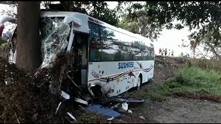 22 PASSENGERS INJURED WHEN BUS HIT THE TREE AT  ICHCHAPURAM TV11 NEWS 12TH MAY 2017
