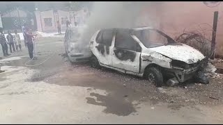 SEIZED CARS CATCHES FIRE AT TAPPACHABUTRA PS TV11 NEWS  20TH MAY 2017