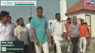 HARISH RAO MORNING WALK CHECKING DEVELOPMENT WORKS IN  LAKES AT SIDDIPET  TV11 NEWS 21TH MAY 2017