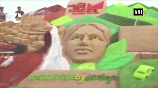 Sand artist Manas Kumar Sahoo commemorates Massive Earth Summit 2018 with sand art