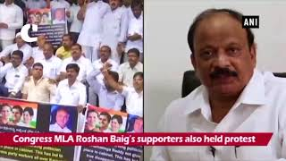 Supporters of Congress MLAs stage protest demanding ministerial berth in Karnataka Cabinet