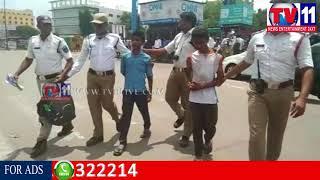 2 MINORS CAUGHT IN VEHICLE CHECKING BY TRAFFIC POLICE AT LB NAGAR TV11 NEWS 14TH SEP 2017