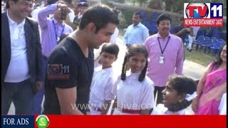 INDIAN CRICKETER GAUTAM GAMBHIR VISIT SCHOOL IN VISHAKAPATNAM  | Tv11 News | 15-12-2017