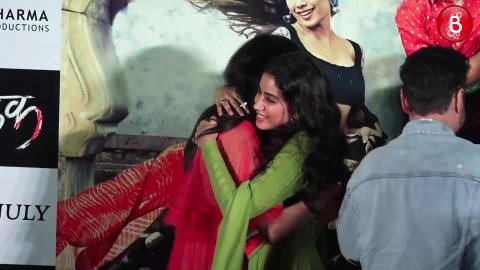 Janhvi Kapoor and Khushi Kapoor during the Dhadak trailer launch
