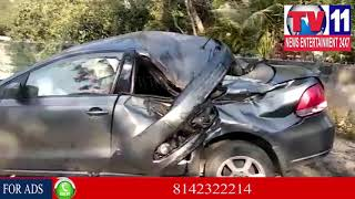 CAR ACCIDENT IN JUBILEE HILLS, BASARA TEMPLE EX EMPLOYEE DEAD, HYD | Tv11 News | 13-01-2018
