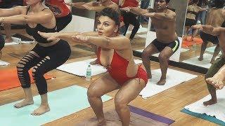Rakhi Sawant HOT YOGA On International Yoga Day   Full Video