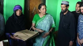 Defence minister Nirmala Sitharaman meets family of army jawan Aurangzeb martyred in Kashmir