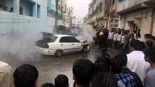 Car catches fire in the monsoonal climate at Sarthana Surat