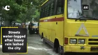 Heavy rain causes water logging in low lying areas of Mumbai